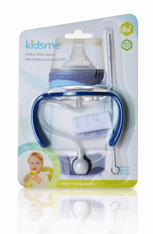 Bộ phụ kiện bình sữa cổ rộng kidsme - màu xanh