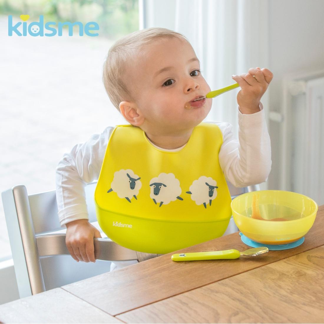 Yếm ăn silicone kidsme - Màu Chanh