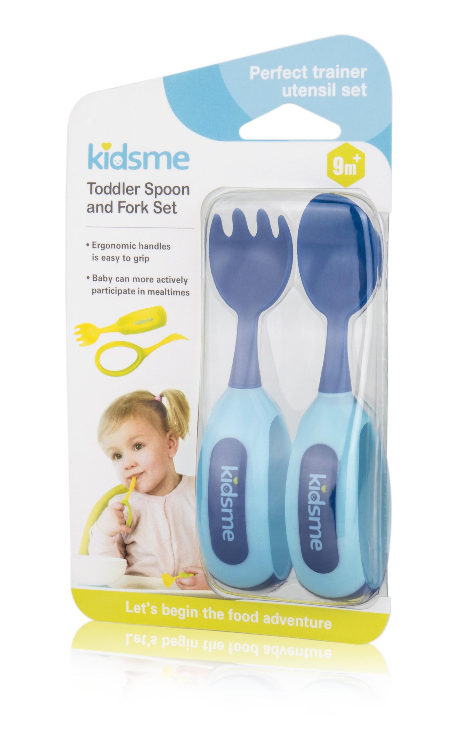 Bộ nĩa và muỗng tập ăn kidsme màu xanh dương